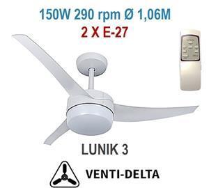 Ventilador Teto Lunik 3 Pás com Controle 220V - Venti-Delta