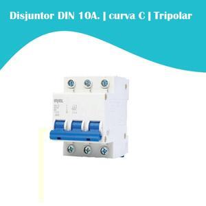 Mini Disjuntor 10A. curva C. Tripolar 3kA.  DIN. (5SJ1) - Iriel