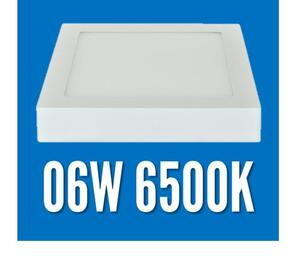 Plafon LED Sobrepor 6W.  Quad. 12x12cm. Luz Branco Quente Frio (6.500K) / Branco - MB Led
