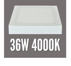Plafon LED Sobrepor 36W.  Quad. 40x40cm. Luz Neutra (4000K) / Branco - MB Led