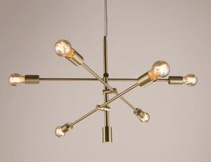 Pendente Blunt 6 Braços Ø76cm em Metal Dourado Escovado 6xE27 (SD8155) - Stella