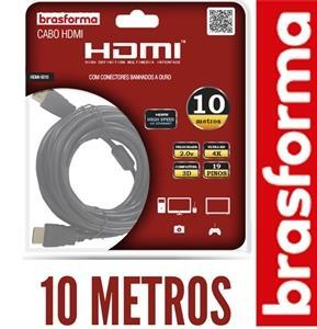 Cabo HDMI 2.0 4K. 3D. 19 pinos - 1080p. Com 10 metros - Brasforma