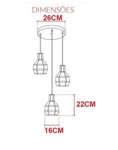 Pendente Adhara 3 Lâmpadas Branco - Avant