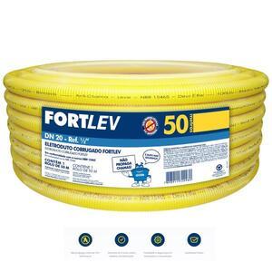 Eletroduto Corrugado Conduite  20mm. 1/2 50m. Antichama Amarelo - Fortlev