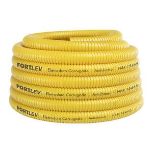 Eletroduto Corrugado Conduite  25mm. 3/4 10m. Antichama Amarelo - Fortlev