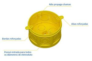 Caixa de Luz de Embutir Octagonal c/ Fundo Móvel Amarela - Fortlev
