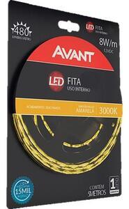 Kit fita led 5metros IP20 8w/m. com fonte bivolte 3000k.