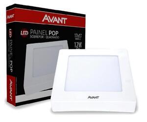 Painel Plafon LED Quadrado Sobrepor Branco (6500K - Branco Frio) 17cm x 17cm Bivolt 12W - Avant