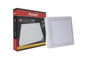 Painel Plafon LED Quadrado Sobrepor Branco (3000K - Branco Quente) 30cm x 30cm Bivolt 24W - Avant