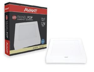 Painel Plafon LED Quadrado Sobrepor Branco (4000K - Neutra) 17cm x 17cm Bivolt 12W - Avant
