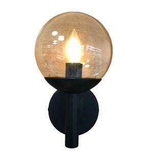 Luminária Arandela Palle Preta Globo Âmbar Ø14cm x 25,5cm x 17cm 1xE27 - Incolustre