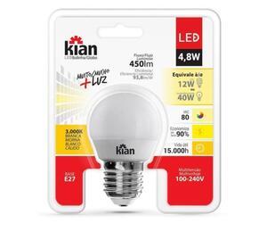 Lâmpada LED Bolinha 3000K Bivolt 4,8W - Kian