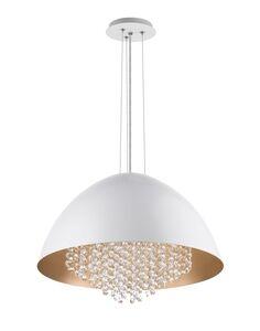 Pendente Ombrello Branco e Ouro 8xG9 Ø60cm x 120cm Bivolt 40W - Palacio